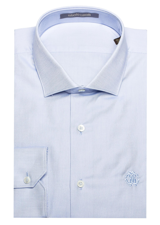 Roberto Cavalli Men's Spread Collar Cotton Dress Shirt Sky Blue