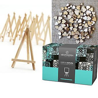 Easelia NATURA - 220pcs Kit with 20 Natural Wooden Mini Table Easels 6 Inch + FREE 200 Mini Mixed Wooden Hearts Embellishments - for Wedding Place Menu Card Board Holders and Craft Projects