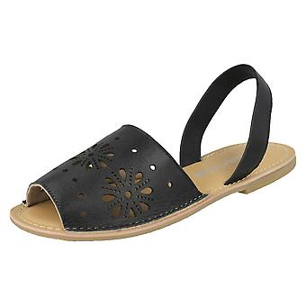 Ladies Leather Collection Flower Design Mules F00144 - Black Leather - UK Size 6 - EU Size 39 - US Size 8