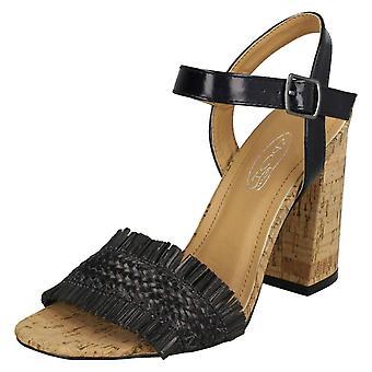 Kære plet på Chunky hæl sandaler F10843 - Sort Metallic folie - UK størrelse 8 - EU størrelse 41 - US størrelse 10