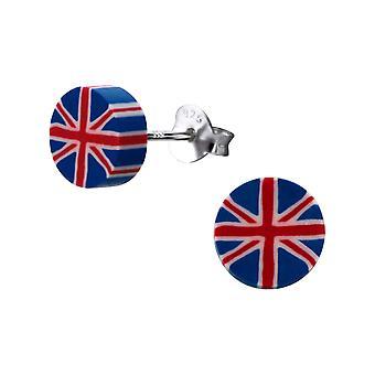 Britannian lippu-muovi + 925 Sterling hopea värikkäät korva napit-W22611X