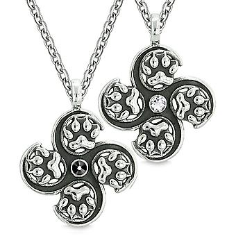Supernatural Wolf Paw Amulet Powers Love Couples Best Friends Black White Crystal Pendant Necklaces