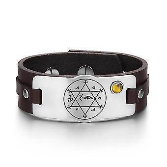 Kong Salomo sirkel av Pentagram Hexagram Amulet Tiger øye Gemstone brunt skinn armbånd