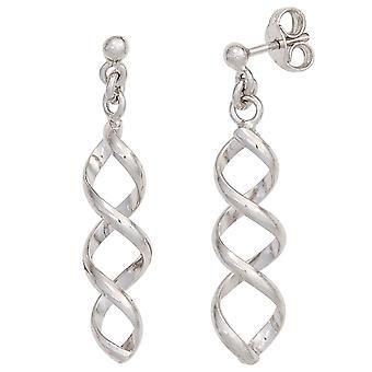 Rhodium-plated earrings spiral-925 Sterling Silver earrings ear studs