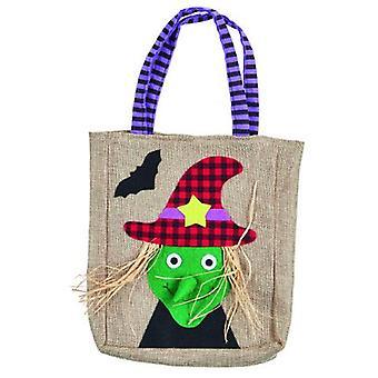 Halloween jute taske heks 25 x 20 cm trick eller behandle tilbehør collection