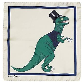 Simon Carter T-Rex Toff Pocket Square - Cream
