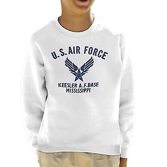 US Airforce Keesler AF Base Mississippi Navy Blue Text Kid's Sweatshirt