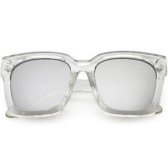 Pogrubienie róg oprawie okulary grube ramiona kolorze lustro Square soczewki 58mm