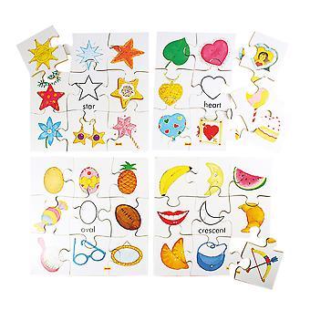 Conjunto de crianças puzzle educacional Bigjigs brinquedos conjunto de quebra-cabeças de formas de madeira 2 (conjunto de 4)