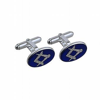 19x13mm Oval kalt Kur Emaille Masonic Schwenk Manschettenknöpfe Silber