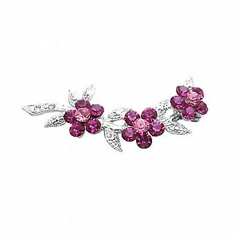 Broche de vestido fúcsia & cristais Rose flor Tom de prata