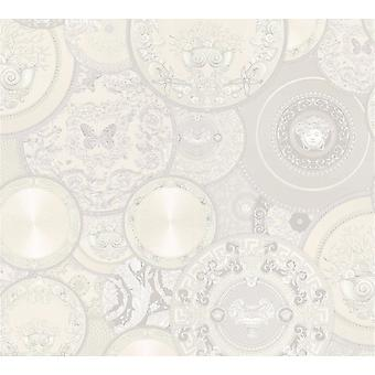 Versace blanco placas brillo papel pintado vinilo pasta muro Les Etoiles de la Mer