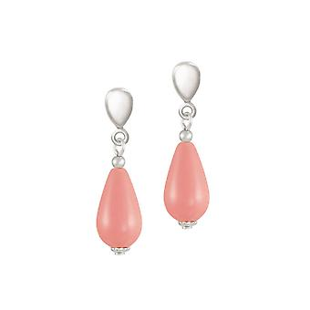 Eternal Collection Poetry Coral Pink South Sea Shell Pearl Silver Tone Drop Clip On Earrings