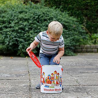 Classic World - 100 Piece In legno Building Blocks impostano giocattoli educativi per i bambini, ordinamento e impilamento