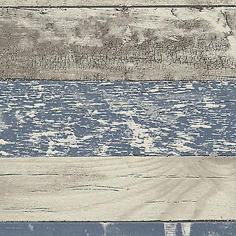 Papel pintado madera apenado pintado azul grano gris tablones tableros pasta pared vinilo