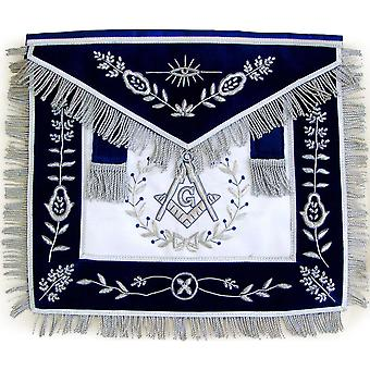 Masonic Master Mason Silver Bullion Hand Embroidered Apron Vine Work-Satin