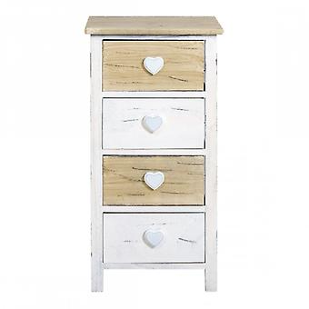 Meubelen Rebecca Comodini Cassetti 4 wit wit lades licht hout 71x35x25