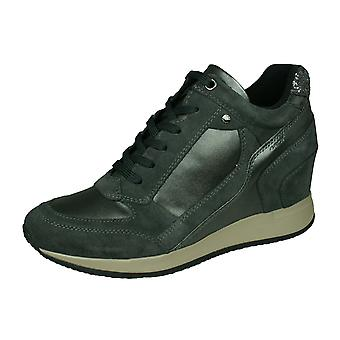 Geox D Nydame A Womens Wedged Heeled Leather Trainers / Bottes - Gris