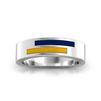 Kent State University Sterling Silver Asymmetric Enamel Ring In Blue and Yellow