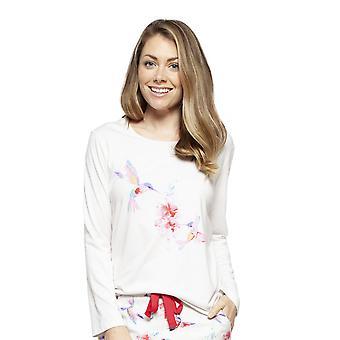 Cyberjammies 4210 Women's Evie Ivory Off White Hummingbird Print Cotton Pyjama Top
