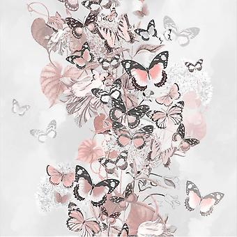 Rosa grau blau Rose Gold Floral Schmetterling Wallpaper Glitter Muriva Sommerzeit