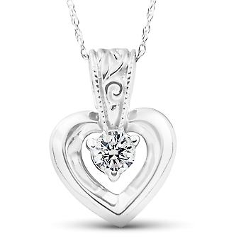 1/4Ct Solitaire Heart Diamond Solitaire Pendant 10k White Gold 17mm Tall