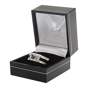 Liverpool FC Official Metal Football Crest Ring With Black Inlay