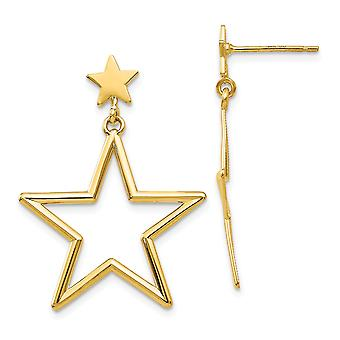 14k Yellow Gold Polished Star Dangle Post Boucles d'oreilles Bijoux Bijoux pour les femmes - 1,8 Grammes