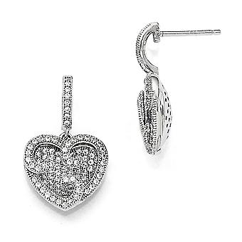 925 Sterling Silver Pave Rhodium plated and CZ Cubic Zirconia Simulated Diamond Polished Love Heart Dangle Post Earrings