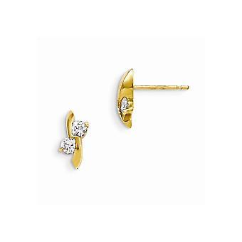 14k Gelb Gold Madi K Cubic Zirkonia für Jungen oder Mädchen Post-Ohrringe