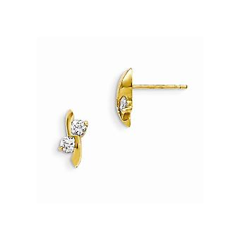14k Yellow Gold Madi K Cubic Zirconia for boys or girls Post Earrings
