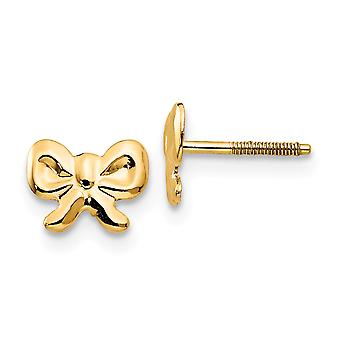 14k Yellow Gold Polished Screw back Bows Screw backback for boys or girls Earrings Measures 5x7mm