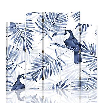 Dekorativ rumsavdelare, 5 paneler, dubbelsidig, 360 ° vridbar canvas, blå Toucans 2