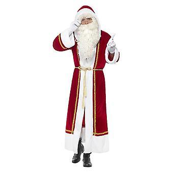 Mens luxo Santa de manto vestido extravagante acessório