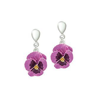 Eternal kokoelma Pansy täydellisyys vaaleanpunainen emali kukka Hopea sävy pudota ruuvi takaisin Clip korva korut