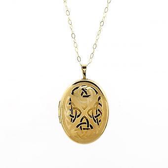 """Evigheden """"9ct guld stor oval keltisk indgraveret Locket og 16"""" spor kæde """""""