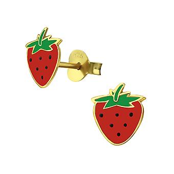 Strawberry - 925 Sterling Silver Colourful Ear Studs - W38006X