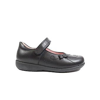 Startrite Paper Black Leather Girls Rip Tape Mary Jane School Shoes