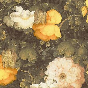 Linen Floral Vinyl Non-Woven Wallpaper Dutch Vintage Retro Yellow Green Textured