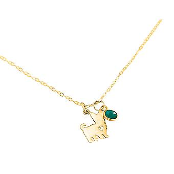 GEMSHINE chain Yorkshire Terrier dog emerald green 925 silver, gold plated, rose