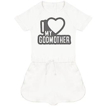 Rakastan GodMother musta ääri viivat vauva Playsuit