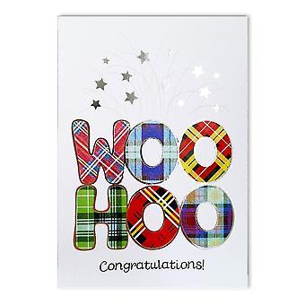 Broderet originaler Woo hoo tillykke! Rødt Tartan-kort