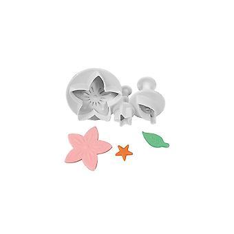 Taart ster bloem blad & ster plunjer Cutter-3 set