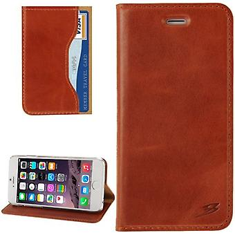 For iPhone 6S,6 Wallet Case,Fashion Oil Wax Cowhide Genuine Leather,Light Brown