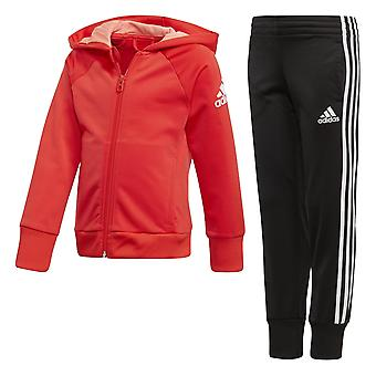 Adidas Little Girls Knitted Tracksuit Red