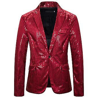 Allthemen Men's Sequined Suit Jacket Peak Lapel
