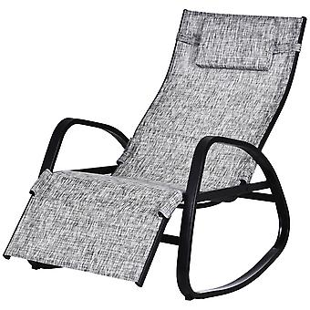 Outsunny Rocking Lounger Chair w/ Adjustable Back Footrest Metal Frame Texteline Seat Removable Pillow Rubber Pads Garden Ergonomic Comfortable Orb Grey