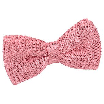Flamingo Pink Knit Knitted Pre-Tied Bow Tie