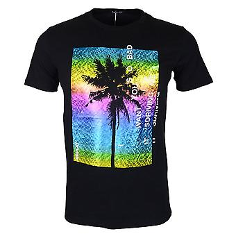 Replay Round Neck Multicoloured Printed Logo Black T-shirt