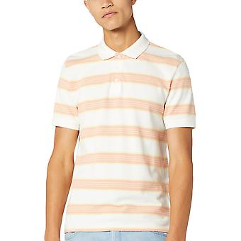 Wrangler Mens SS Stripe Cotton Short Sleeve Striped Polo Shirt Top - Off White